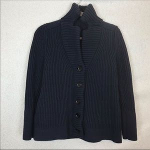 Burberry Ribbed Knit Navy Blue Cardigan Sweater